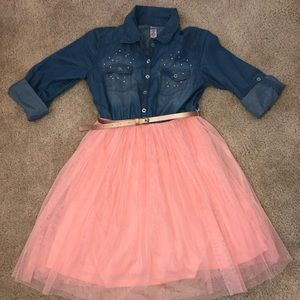 Justice Dresses - Justice tulle/jean dress
